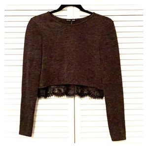 Zara Charcoal Gray Crop Top with Black Lace Trim